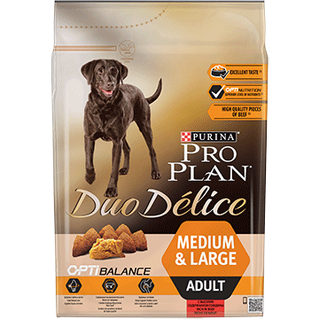 ​PURINA® PRO PLAN® Duo Delice Adult Medium/Large with OPTIBALANCE™ Sisältää runsaasti Nautaa
