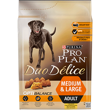​PURINA® PRO PLAN® Duo Delice Adult Medium/Large with OPTIBALANCE™ Sisältää runsaasti Kanaa