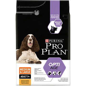 ​PURINA® PRO PLAN® Medium & Large Adult 7+ with OPTIAGE® Sisältää runsaasti Kanaa