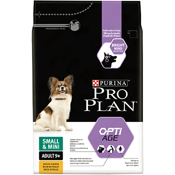 ​PURINA® PRO PLAN® Small & Mini Adult 9+ with OPTIAGE® Sisältää runsaasti Kanaa