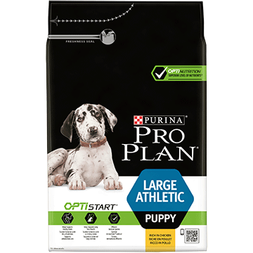 ​PURINA® PRO PLAN® Large Athletic Puppy with OPTISTART® Sisältää runsaasti Kanaa