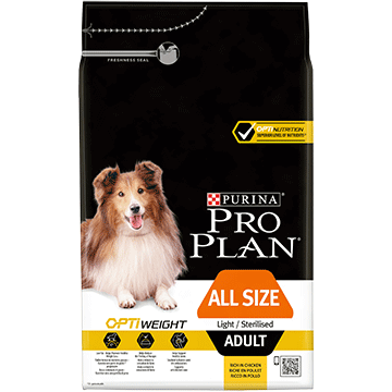 ​PURINA® PRO PLAN® All Sizes Adult Light/Sterilised with OPTIWEIGHT® Sisältää runsaasti Kanaa